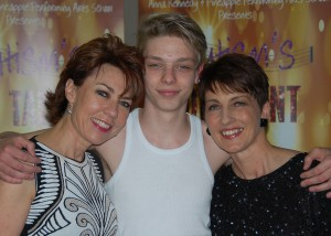 Kathy Lette, James Hobley ( Young Patron of Anna Kennedy Online) and Anna Kennedy  at Autism's Got Talent 2013