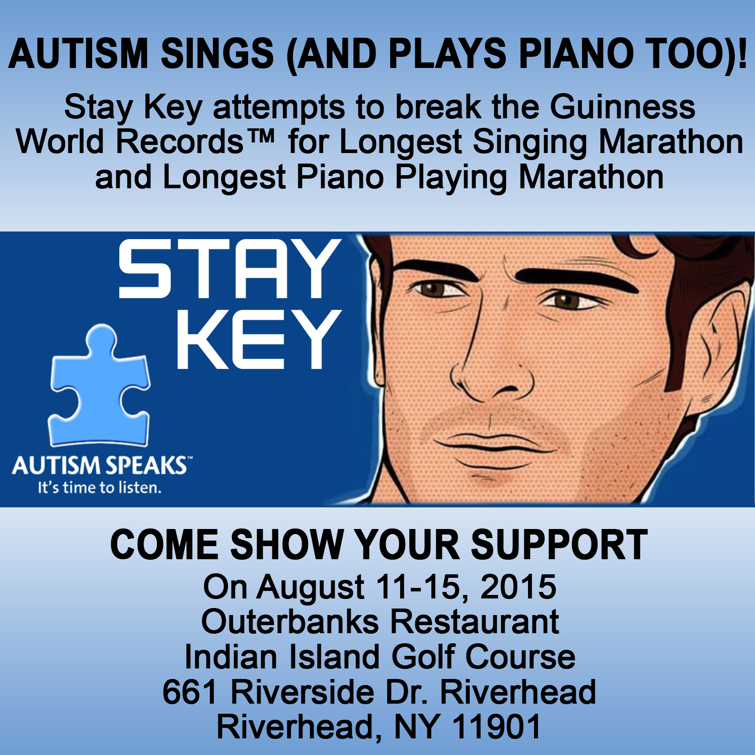 Press Release – Guinness World Record™ Marathon Challenge, All Proceeds Will Be Donated to Autism Speaks LI