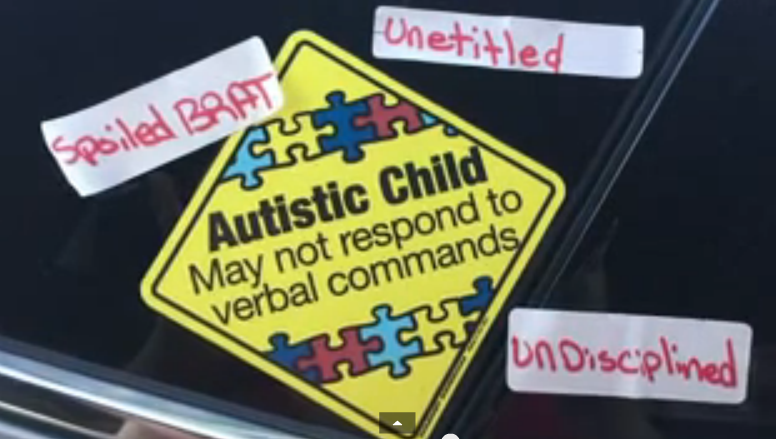 Mother finds offensive stickers about son with autism stuck on her car – w/video